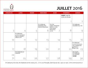 Calendrier activités juillet 2016